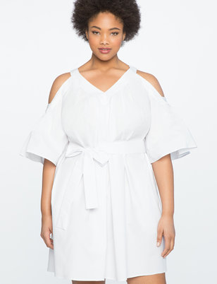 Cold Shoulder Pleated A-Line Dress