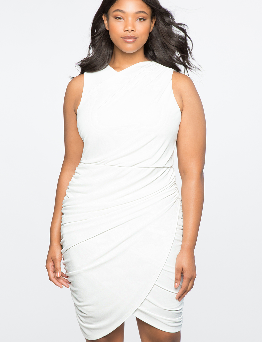 Fitted Faux Wrap Dress