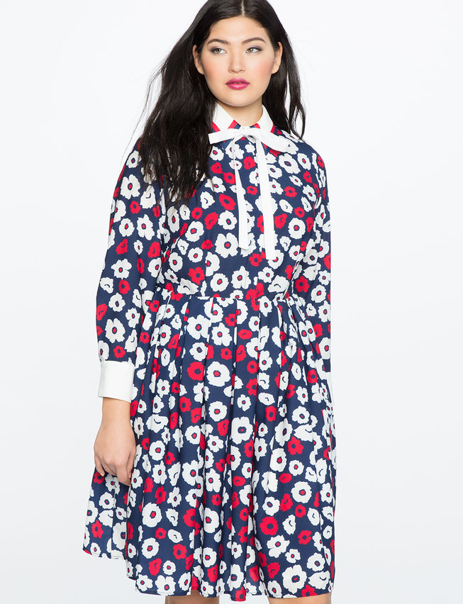 ELOQUII x Katie Sturino Printed Fit and Flare Dress
