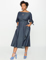 Studio Off the Shoulder Chambray Dress Dark Blue Chambray