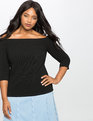 Off the Shoulder Ottoman Top Black