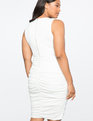 Fitted Faux Wrap Dress Ivory