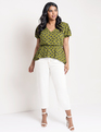 Pleated Sleeve Peplum Top Avocado Dot