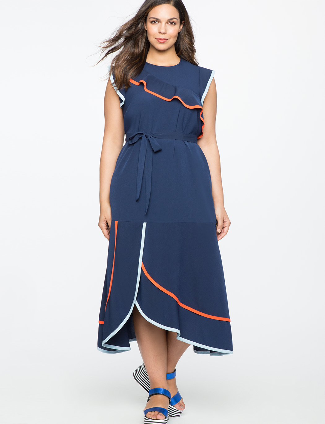 117f281bd88 Ruffle Detail Dress with Contrast Piping