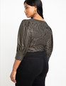 Dramatic Puff Sleeve Wrap Top Gold Foil Stripe