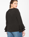 Ruffle Sleeve Blouse Black