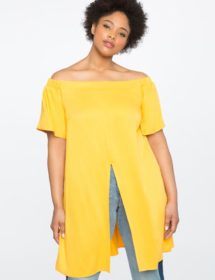 Studio Off the Shoulder Tunic with Slits