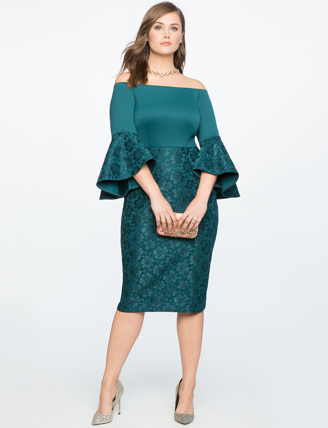 Lace Ruffle Sleeve Off The Shoulder Dress | ELOQUII