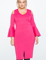 Cold Shoulder Flare Sleeve Scuba Dress MAGENTA