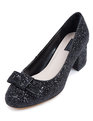 Block Heel Pump Black Glitter