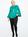 Pleated Sleeve Top TROPICAL GREEN
