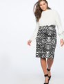 Neoprene Pencil Skirt Wild Zebra