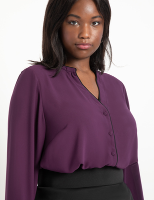 Button Down Blouse with Piping