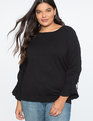 Ruched Tie Sleeve Sweater Totally Black