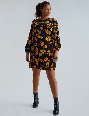 Printed Puff Sleeve Dress