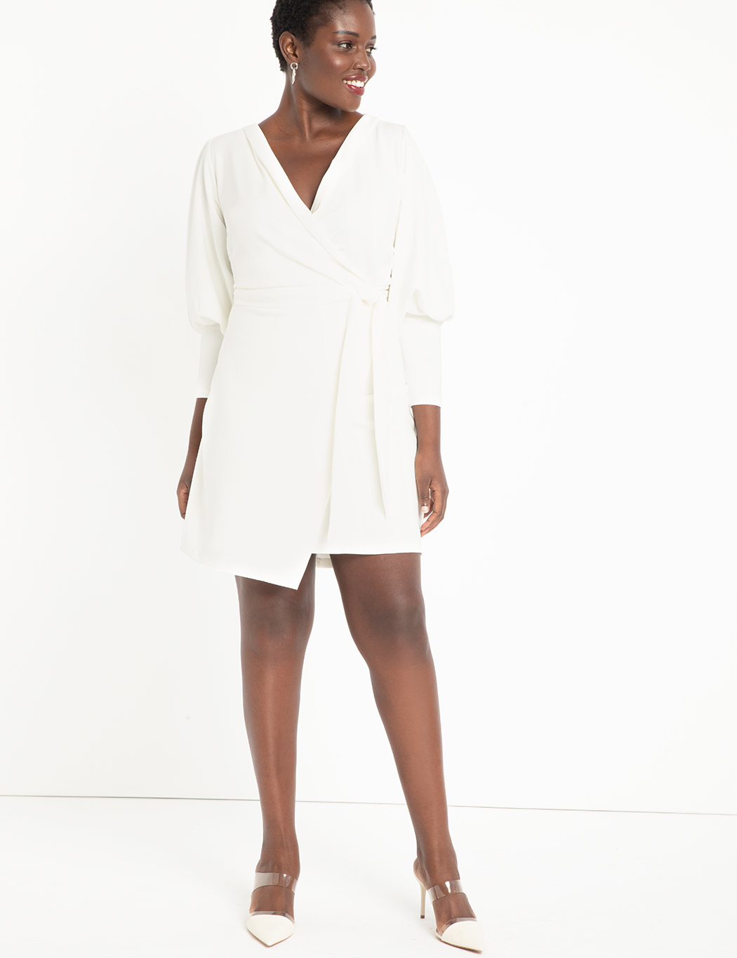 Wrap Dress with Puff Sleeves