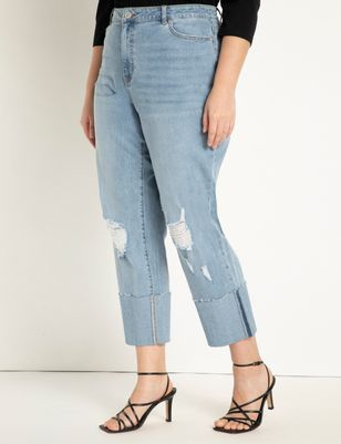 Distressed Jeans with Tall Cuff