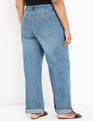 Distressed Wide Leg Jean with Roll Cuff Medium Wash
