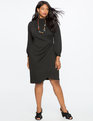 Drape Front Mock Neck Dress TOTALLY BLACK