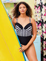 Opposing Stripes One Piece Swimsuit Black + White