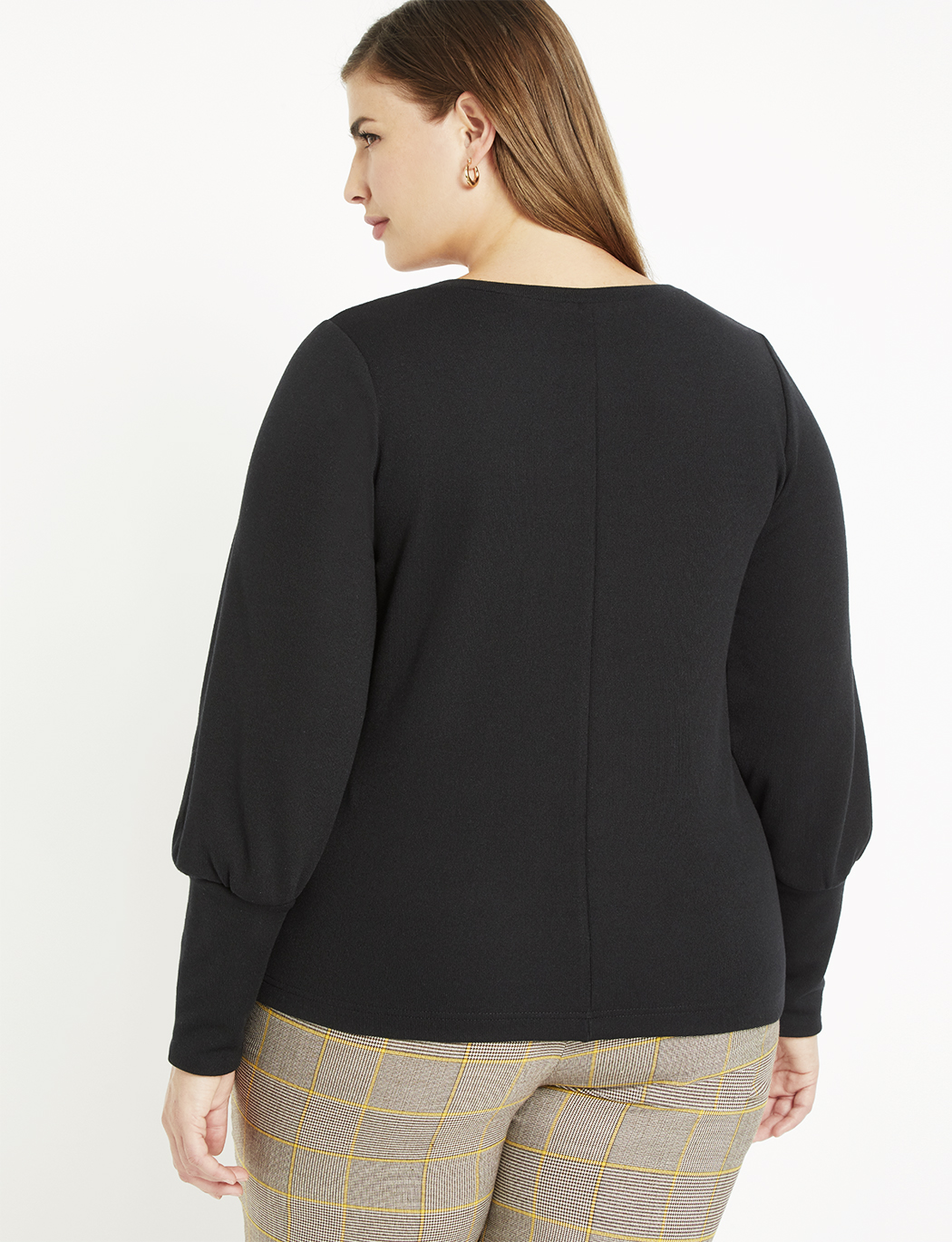 Scoop Neck Top with Puff Sleeve