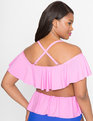 Off The Shoulder Contrast Ruffle Bikini Top Pink/Blue