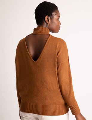 V-Back Turtleneck Sweater