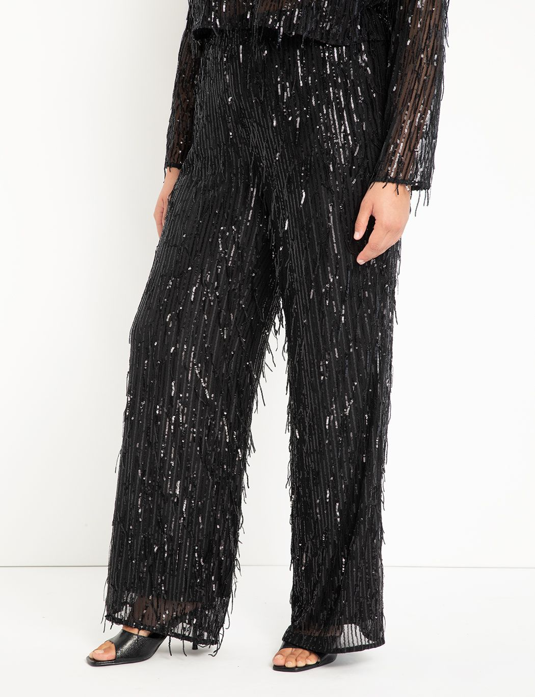 Fringe Sequin Wide Leg Pant