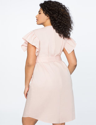 Pearl Front Pleated Sleeve Dress