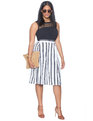 Studio Pleated Culottes Black / White Stripe