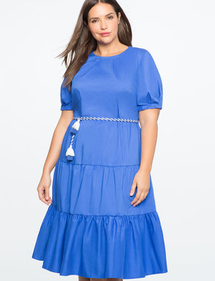 Tiered Puff Sleeve Dress with Rope Belt