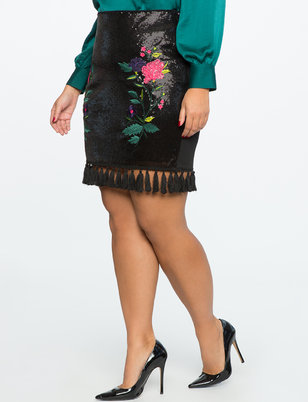 Tassel Hem Sequin Skirt with Embroidery