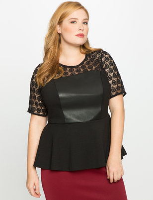 Studio Lace Yoke Peplum Top