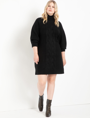 Turtleneck Cable Sweater Dress