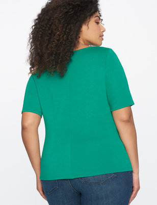 Asymmetric Pleated Short Sleeve Top