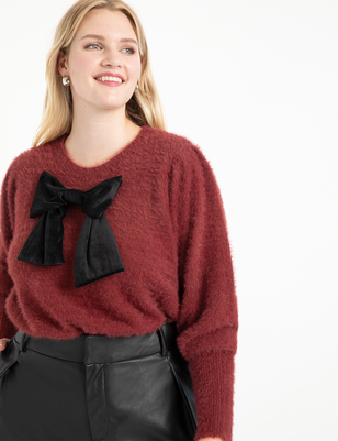 Puff Sleeve Sweater with Bow