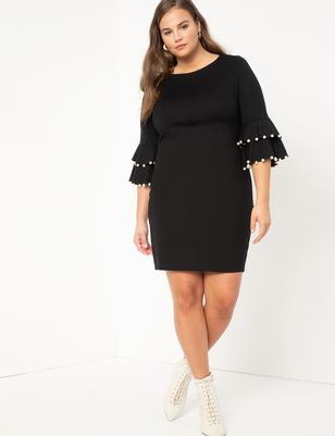 Pearl Detail Dress With Flounce Sleeves