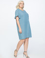 Chambray Easy Tee Dress with Bow Back MEDIUM WASH