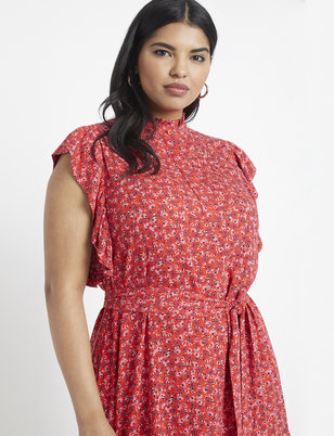 Ruffle Mock Neck Printed Dress