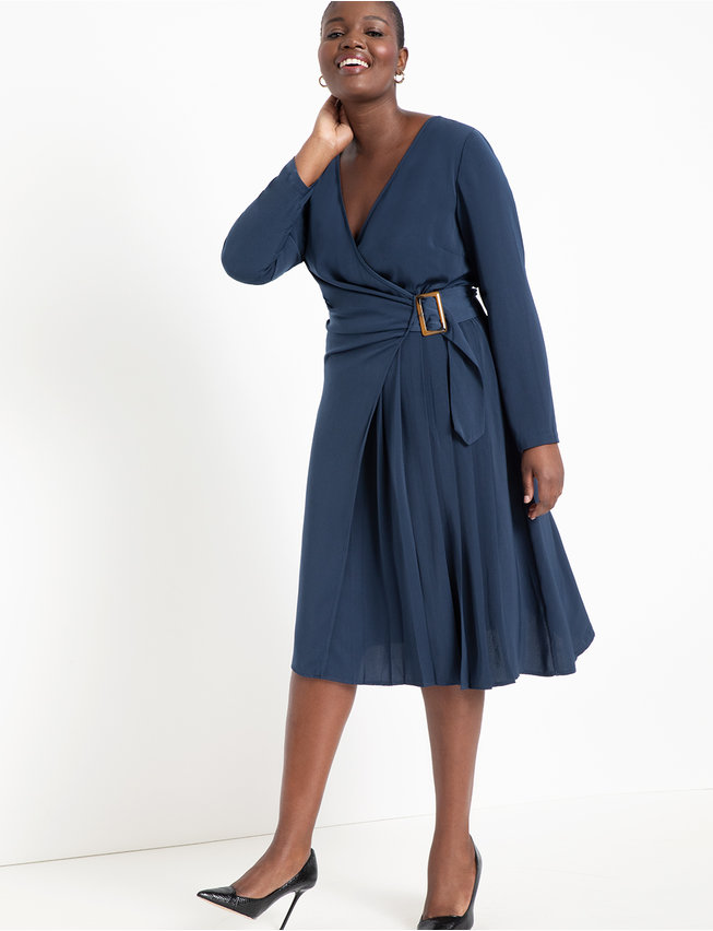 Long Sleeve Wrap Dress with Buckle