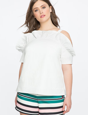 Ruffle Front Cold Shoulder Top