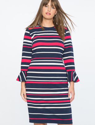 Draper James for ELOQUII Stripe Ottoman Dress
