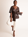 Faux Leather Tie Waist Top Melted Chocolate