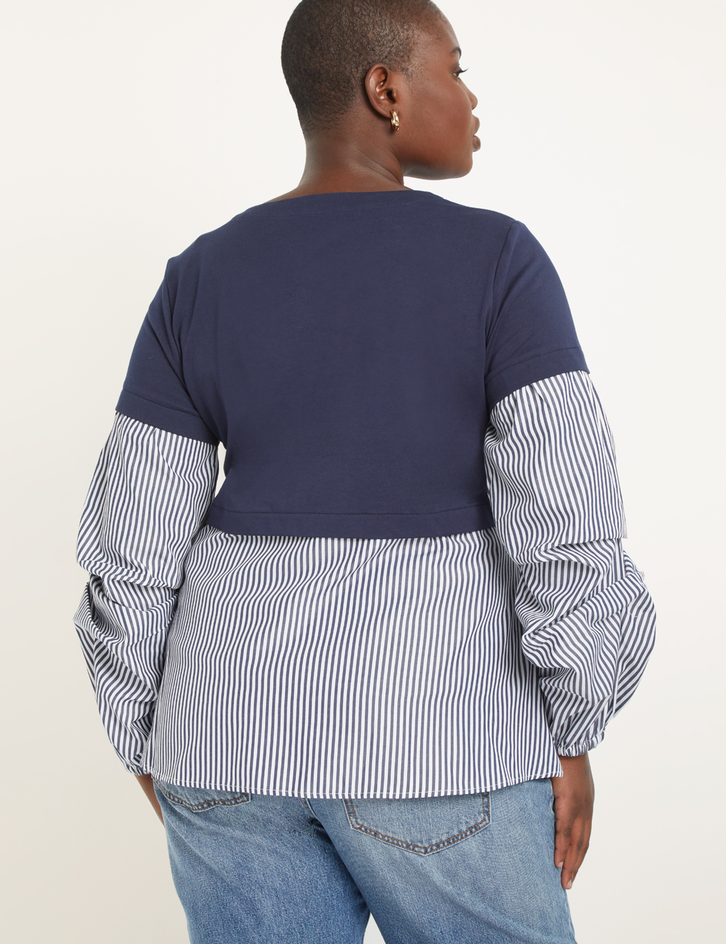 Crewneck Two-Fer Top with Dramatic Sleeve