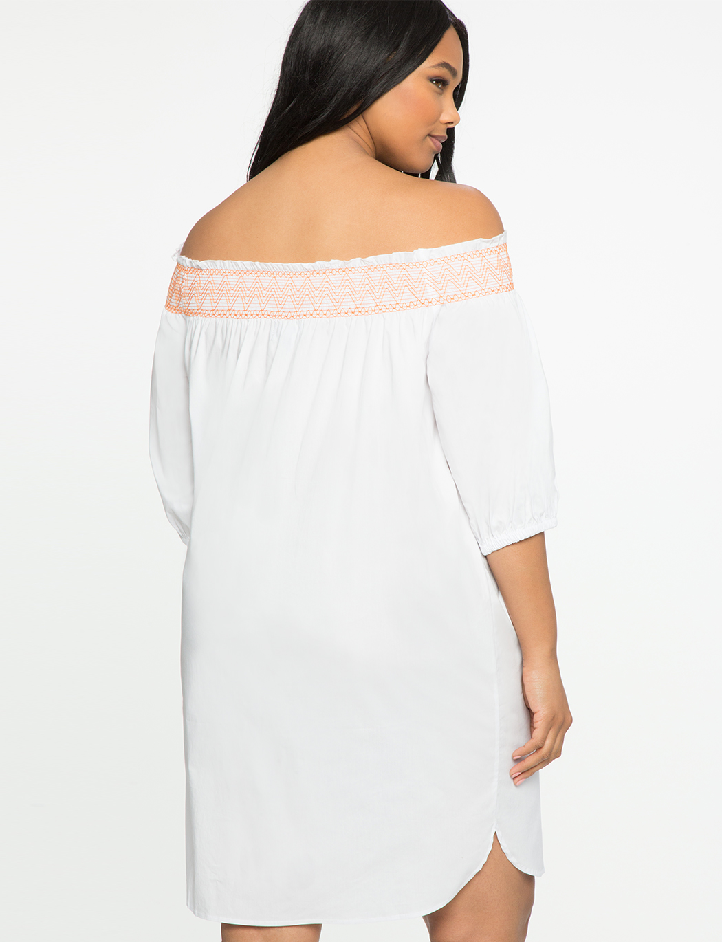 Off the Shoulder Dress with Contrast Stitching