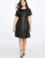 Faux Leather and Ponte Mix Dress Black