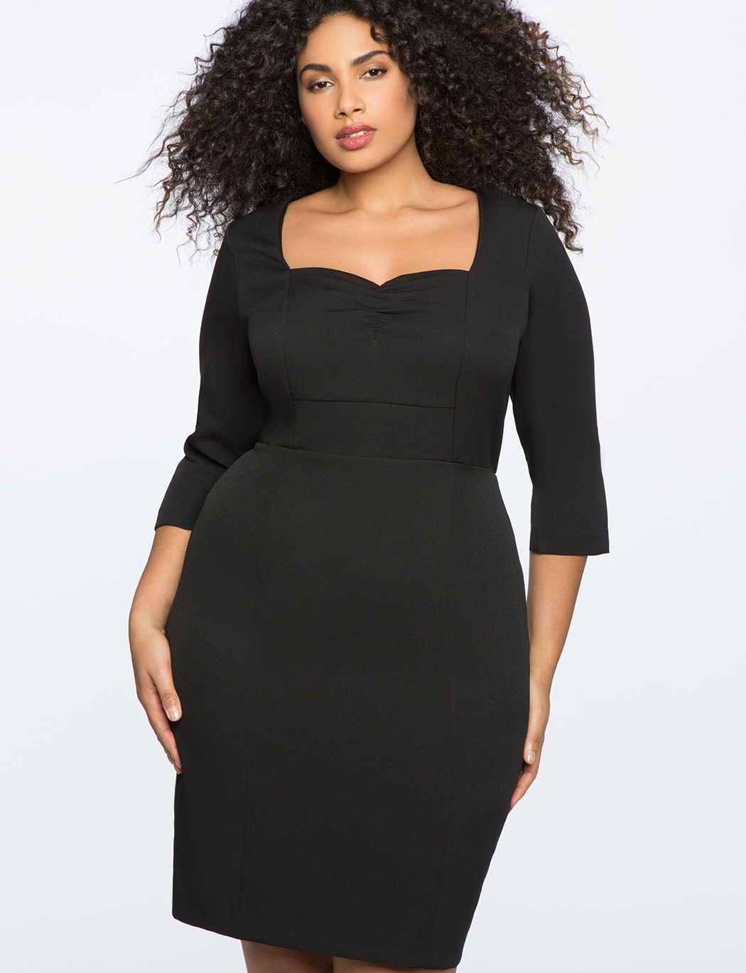 3/4 Sleeve Dress with Sweetheart Neckline | Women\'s Plus Size Dresses |  ELOQUII