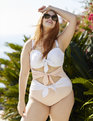 Tie Front One-Piece Swimsuit PALE PINK/WHITE