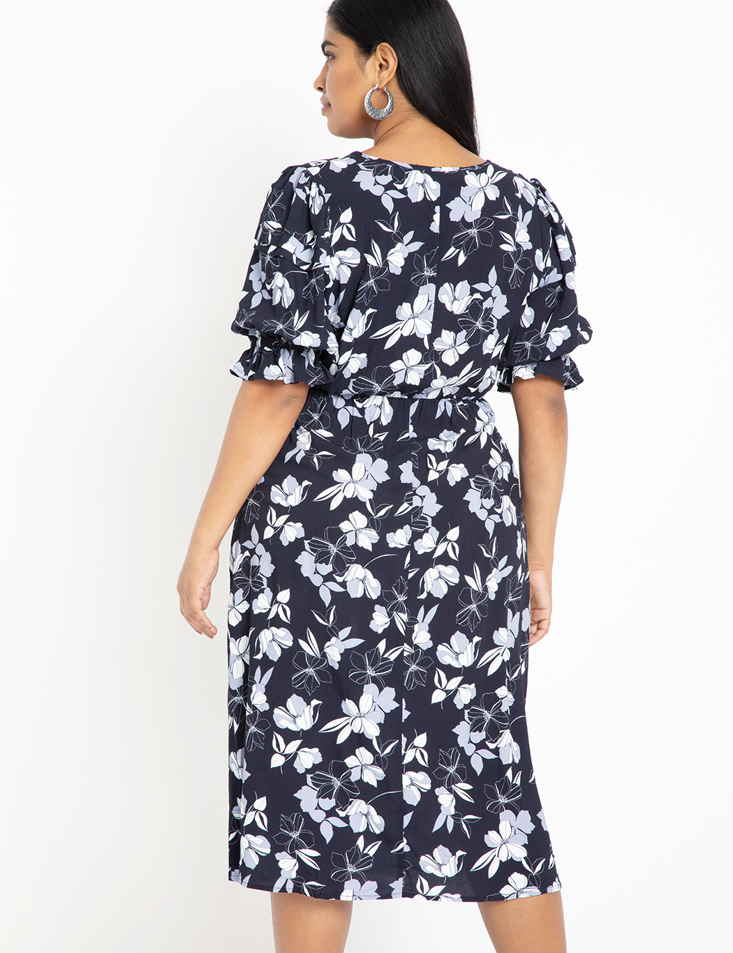 Printed Puff Sleeve Dress with Slit