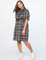 Smocked Puff Sleeve Mock Neck Dress Wild Cheque